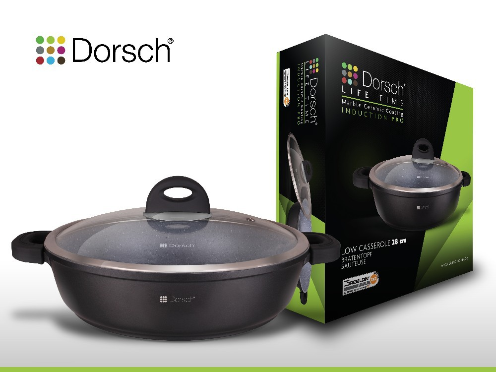 Dorsch High Quality Low Casserole 36 cm Die-Cast Aluminium With Marble Ceramic Coating Non-Stick CE Certificate German Standards