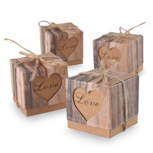 Candy Boxes Love Rustic Kraft Bonbonniere With Burlap Jute Shabby Chic Vintage Twine Wedding Favor Imitation Bark Gift Box