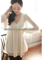 ladies V collar loose chiffon top blouse 2013 new style blouse