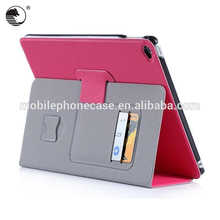Custom Leather Foldable Cover Fancy Flip Tablet Case For iPad mini 2 With Auto-wake/Sleep Function