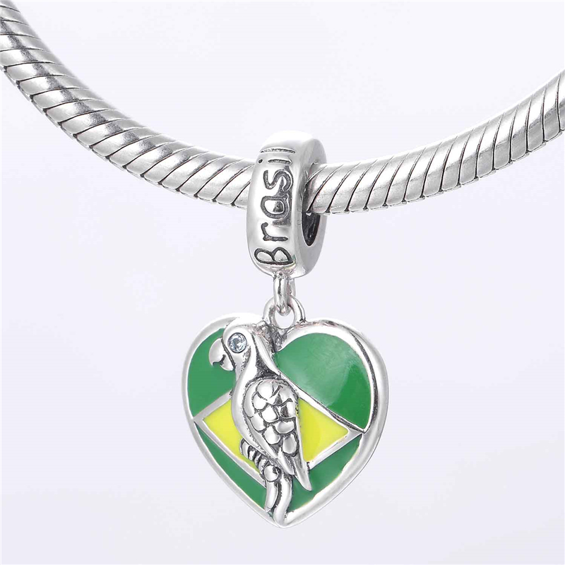 925 Sterling Silver American Flag Heart Charm Dangle Bead Fit European Charms