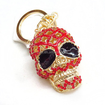 skull crossed bone rinestone keychain