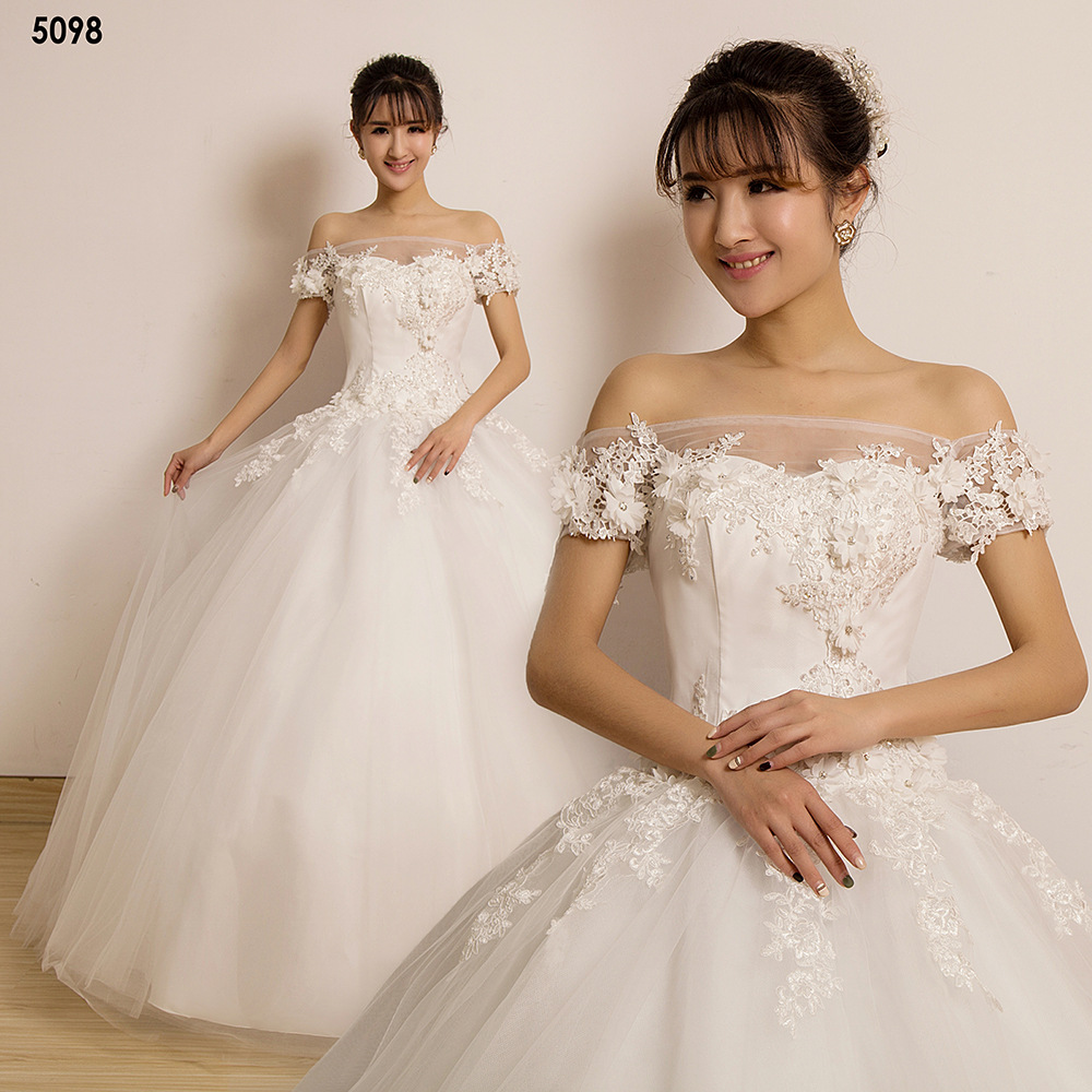 C72562A New Model Elegant Handmade Beaded Wedding Dress