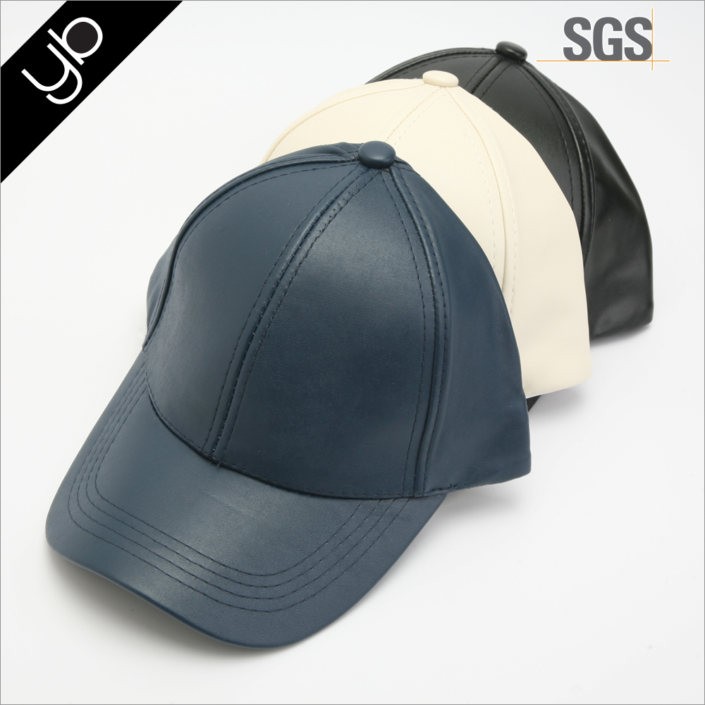 Wholesale simple plain brim bank 6 panel pu leather custom sport baseball hat and cap