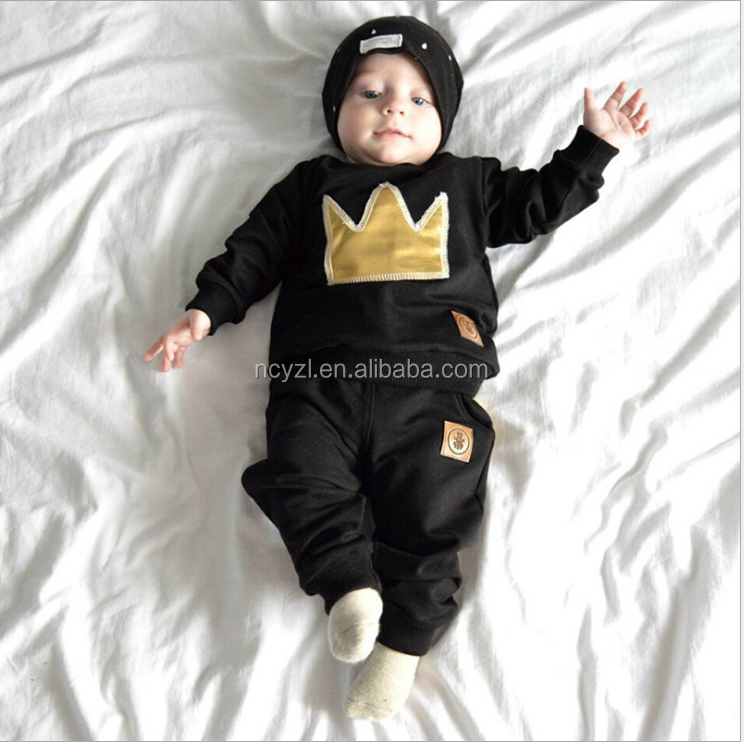 custom wholesale kids 100% cotton long sleeve crown embroidered two pieces clothes suits