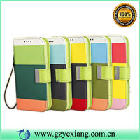 Colorful stripe wallet flip cover case for samsung galaxy S5