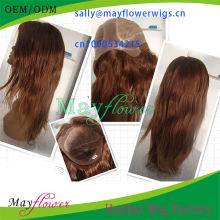 custom made red brown color thin skin silk top lace wigs natural straight virgin Brazilian hair freestyle