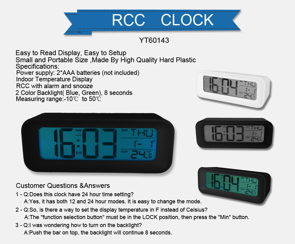 YT60143 DIgital Alarm Clock