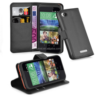 Book Stand PU Leather Wallet Lichee Phone Case Cover With Card Slots For HTC 320