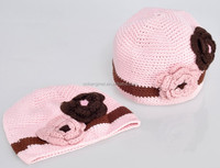 Sweet pink owl shaped children's hats and caps baby girls crochet beanie hats for kids
