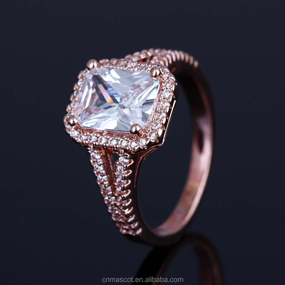 2017 New Design Cheap Crystal Rose Gold Plated Beautiful Ring