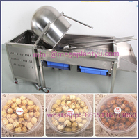 stainless steel commercial gas hot air ball caramel popcorn making machine with bucket