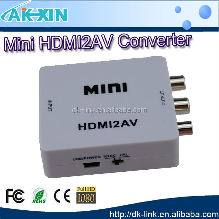 1080P Mini HDMI2AV Converter Box Supports NTSC and PAL for TV Formats