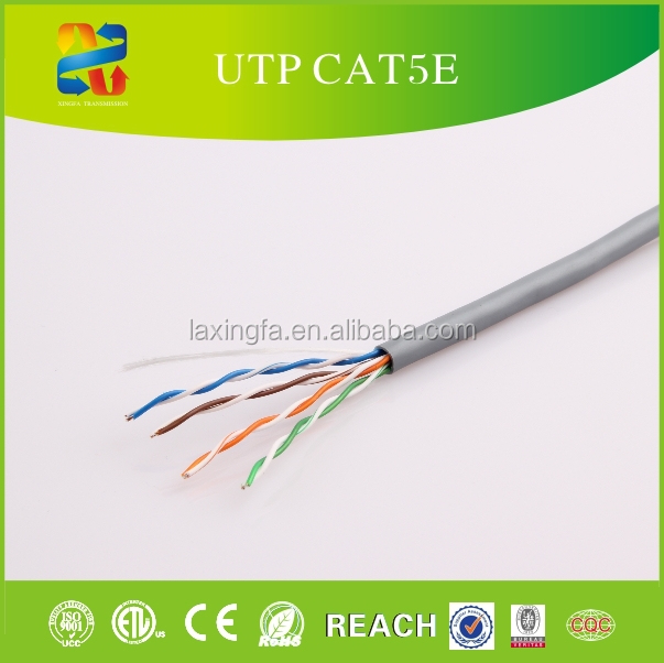 China high quality 4 pairs twisted lan cable cu conductor pvc jacket utp lan communication cat5e cable