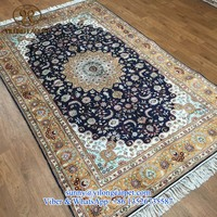 5x8ft classical medallion handmade blue silk persian home decor oriental china hand knotted turkish rugs