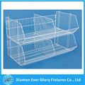 Metal Steel construction and stackable design White Wire Basket