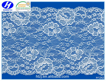 2016 hongtai White swiss lace 18cm width nylon and spandex lace trim for ladies underwear