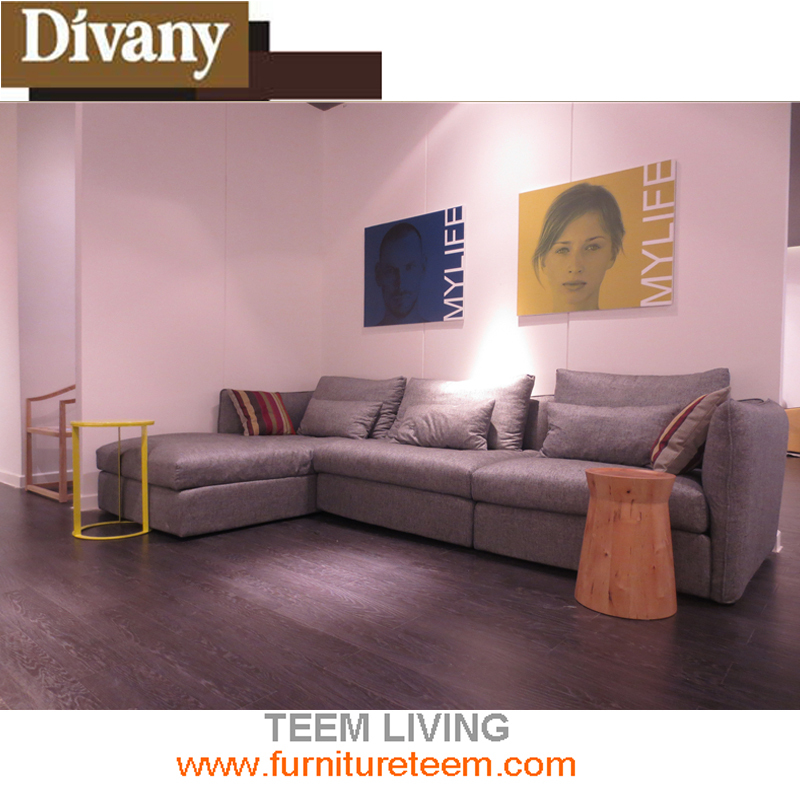 Latest new design fantistic corner sectional modern living room fabric hot sales grey leather sofa set