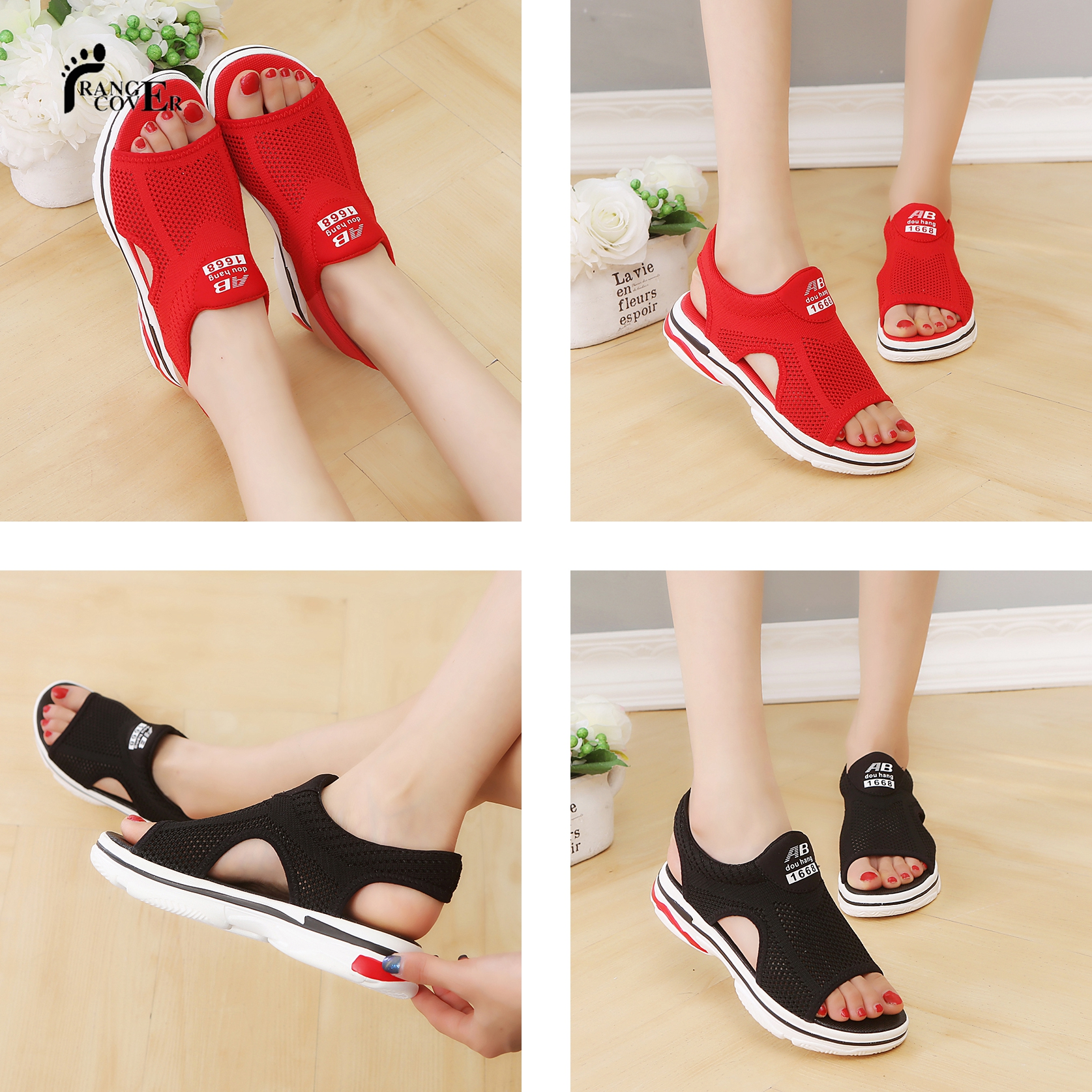 Summer Polyurethane pu mesh women sports platform sandals