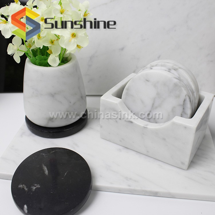 White Marble Flower Planter With Black Stone Coaster