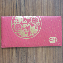 custom printed gold stamping red packet paper envelope