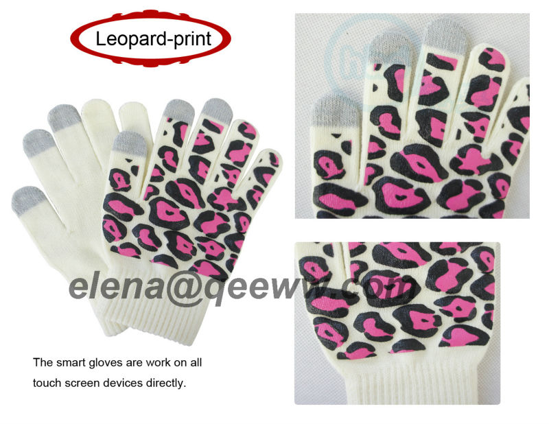 Ladies fashion knitted winter wool e touch gloves
