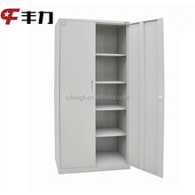 Steel office furniture 2 swing door metal cabinet 4 shelf support