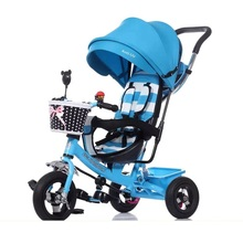 China Baby Stroller Manufacturer Wholesale 4 in 1 Air Tire Tricycle Stroller Folding Baby Stroller 3 Wheel