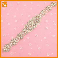 Wholesale long size rhinestone beaded flower applique designs for bridal sash