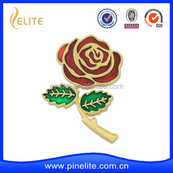 custom made rose metal lapel pin with translucent enamel and butterfly clutch