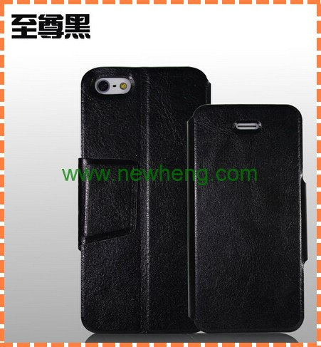 Hot sale Crazy Ma Wen pu leather case with stand for iphone 5