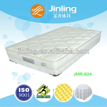 Pocket coil spring mattress with convoluted foam in quilting