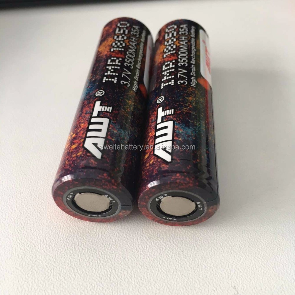 AWT new arrival rainbow color 18650 3500mAh 35A mod vaping for 200w vape mod