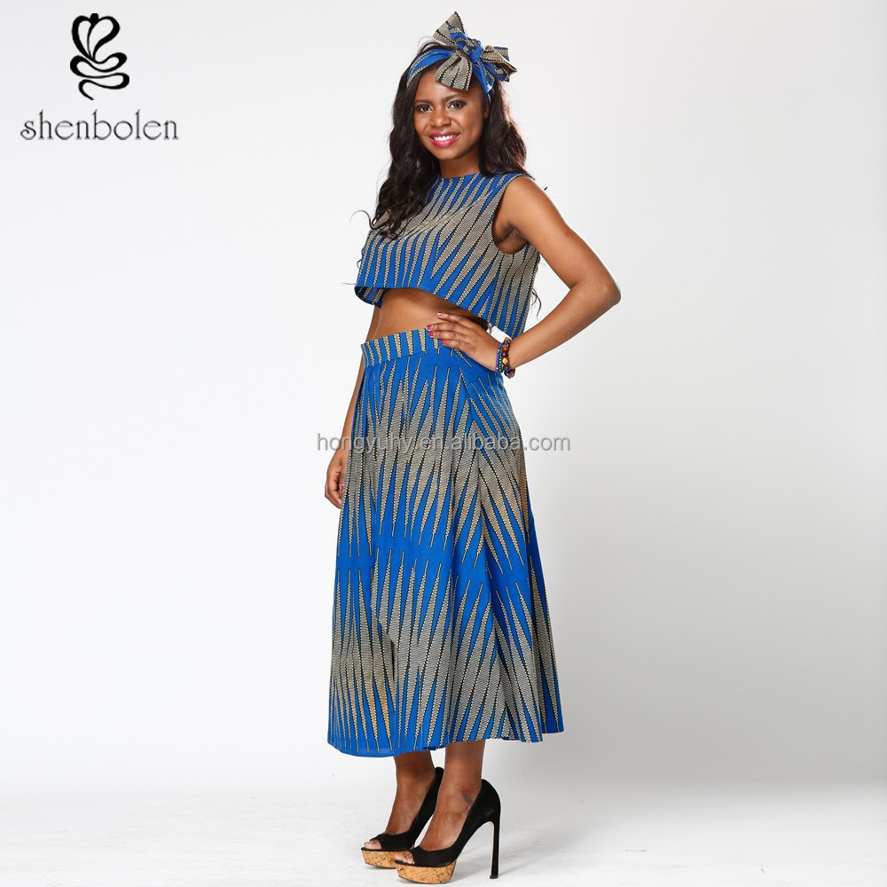 Shenbolen dress African wax batik print striped patterns two pieces clothing