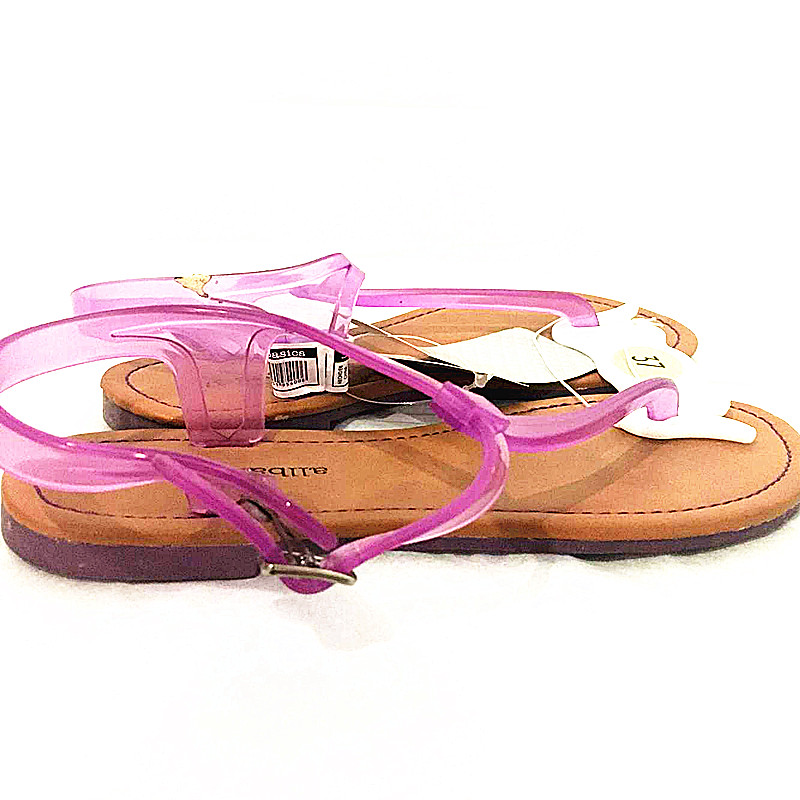 2017 the newest PVC flip-flop flat lady sandals with buckles for summer