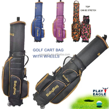 New Golf cart bag with wheels flexible top golf caddy bag strong nylon golf bags