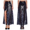 2015 hot selling wholesale women navy side slit sequin skirt