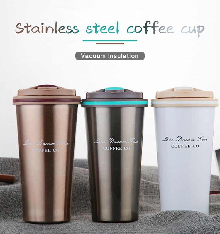 Amazon hot sale 500ml coffee mug  reusable Car Insulated Stainless Steel coffee mug