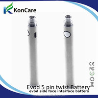 Unique design evod passthrough battery 650mAh,900mAh,1100mAh with mirco USB 5 pin connector in the bottom