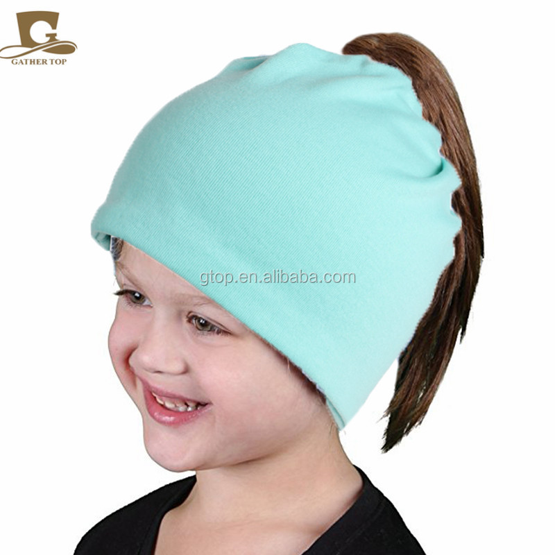 Girls Soft cotton High Bun Ponytail Beanie Hat kids tail Soft Chunky Beanie cap