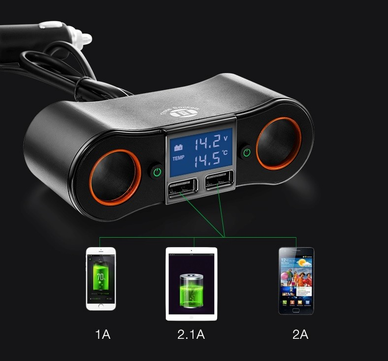 _07 Universal 2 USB cup holder Car Charger for Smart phone with 3 cigarette lighter sockets .jpg