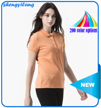High quality 95% cotton 5% spandex blank women polo shirt wholesale in guangzhou