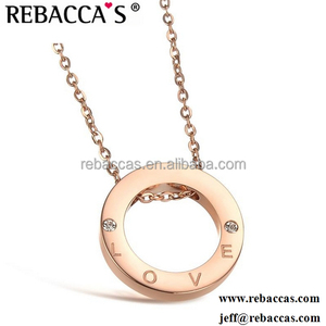 Stylish beautiful lady rose gold diamond ring Love letters necklace