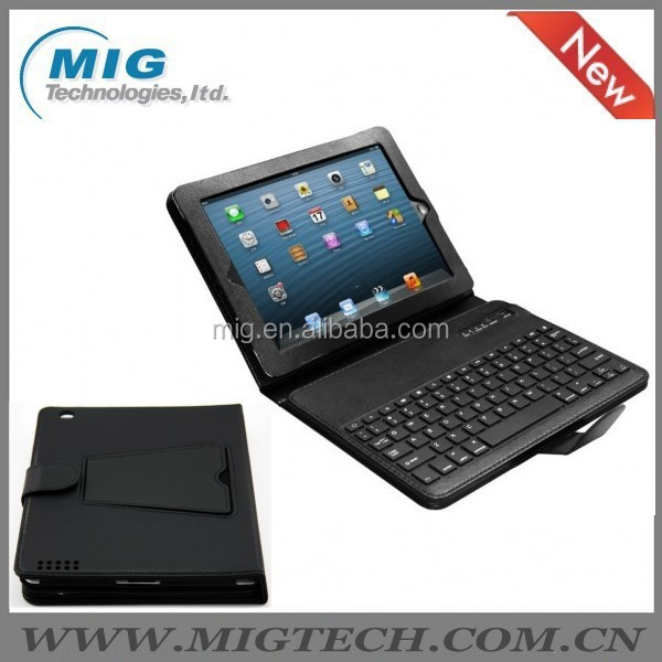 bluetooth keyboard For ipad 3 Synthetic leather case with bluetooth keyboard, black