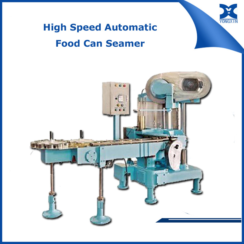 High speed filled tin can seaming machine vacuum tin can sealer