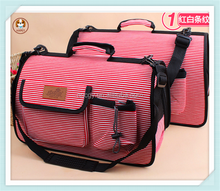 Stripe canvas outside travel pet dog carrier bag
