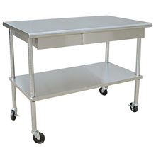 Stainless Steel Work Table with casters and 2 Drawers