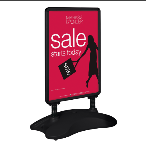 Windmaster poster stand B1 black water base snap banner sidewalk sign poster stand