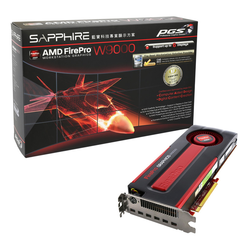 AMD FirePro W9000 6gb 384 bit GDDR5 ECC PCIe 3.0 x16 mini DP 3D professional graphic card