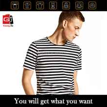 Fashion Clothing Custom Distressed Hot Selling Couple T-shirt Black And White Classic Stripe T-shirt